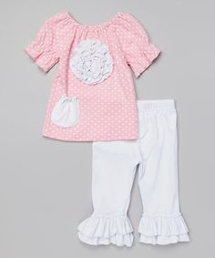 Love this Pink Rosette Top & White Ruffle Pants - Infant, Toddler & Girls on #zulily! #zulilyfinds