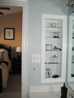 Girl Meets Home: Medicine Cabinet Turned Open Shelving