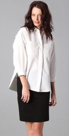 button up with pencil skirt
