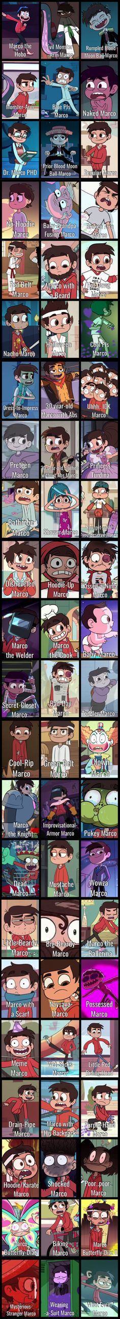 ALL OF THE MARCOS Star vs the Forces of Evil-- 30 year old Marco is my favorite, by far. He's so badass