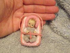 Miniature handmade MINI BABY GIRL & CAR SEAT CHAIR ooak DOLLHOUSE ART DOLL