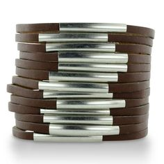 Brown Leather And Silver Cuff Bracelet