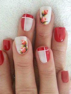 Unhas decoradas com rosas - 01 unhas rosa decoradas, unhas decorada Cute Nail Art Designs, Beautiful Nail Designs, Red Nails, Hair And Nails, Cute Nails, Pretty Nails, Floral Nail Art, Christmas Nail Art, Flower Nails