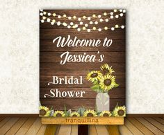 Bridal Shower Welcome Sign, Printable Wedding Welcome Sign, Sunflower Wedding Ideas, Diy Wedding, Rustic Weddings. Matching signs, wedding invitation and other cards available at: tranquillina.etsy.com