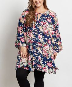 Another great find on #zulily! PinkBlush Navy Blue Floral Bell Sleeve Maternity Tunic - Plus #zulilyfinds