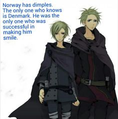 Hetalia Headcanon - Norway and Denmark<<<<<oh my GOSHH I LOVE DIMPLES SO MUCH!!! *fangirling*!