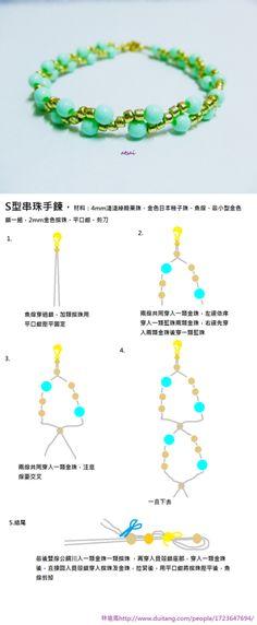 #DIY #Tutorial de como fazer pulseira dupla com contas e missangas- muito simples- na missanga precisa de passar o fio 2 vezes- missanga 2 mm + conta 4 mm- do blogue GloriArts & Bijoux