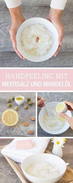 Beauty-DIY von Lavera: Zauber Dir ein Handpeeling aus Meersalz und Mandelöl, weiche Hände / #handmate beauty tutorial: how to make a peeling with sea salt and almond oil, soft hands via DaWanda.com