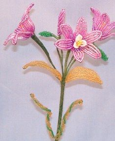 Harvest Lily French Bead Flower Pattern at Sova-Enterprises.com Many FREE Bead Patterns and Tutorials available!