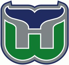 Hartford Whalers Primary Logo (1993) - A green W with a blue whale tail above it forming an H in grey