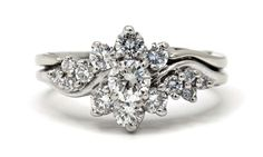 Out of the ordinary flower style diamond engagement ring featuring total diamond weight, comes with matching wedding band solder (will separate upon request at no charge) Diamond Flower, Diamond Rings, Diamond Engagement Rings, Matching Wedding Bands, Flower Fashion, Flowers, Jewelry, Style, Jewellery Making