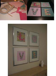 """Fairly easy DIY wall art - Scrapbook paper, cardboard letters, glue and 20""""x20"""" frames."""