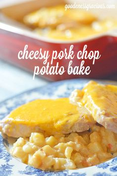 Cheesy Pork Chop Potato Bake - This rich and creamy casserole will satisfy all your cravings!