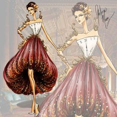 Guillermo Meraz Beauty and the Beast Collection Cogsworth Disney Fan Art, Disney Style, Fashion Art, Womens Fashion, Female Fashion, Disney Fashion, Disney Divas, Creation Art, Princesa Disney