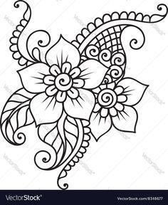Hand-Drawn Abstract Henna Mehndi Flower Ornament vector image on VectorStock Mehndi Drawing, Henna Drawings, Mandala Drawing, Henna Hand Designs, Simple Mehndi Designs, Zentangle Patterns, Embroidery Patterns, Mehndi Flower, Henna Art