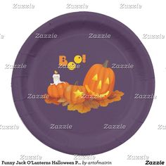 Funny Jack O'Lanterns Halloween Party Paper Plates