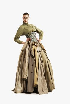 The ultimate recycler. Gary Harvey transforms 18 trench coats, a Burberry dress and cropped Mac into something magical.