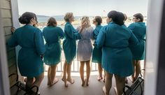 bride and bridesmaids hanging out in teal robes on balcony at Hotel Bellwether in Bellingham, WA on the wedding day photo by Matt Shumate Photography Wedding Shoot, Wedding Day, Evergreen Garden, Garden Weddings, Brides And Bridesmaids, Wedding Portraits, Hanging Out, Balcony, Fur Coat