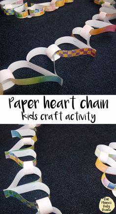 Paper heart chain kids craft activity from OneMamasDailyDrama.com || kids craft | kids activities | Valentine's Day | heart craft | paper valentine | pattern & counting activities