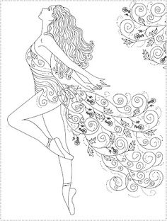 Nicole's Free Coloring Pages: dance Make your world more colorful with free printable coloring pages from italks. Our free coloring pages for adults and kids. Ballerina Coloring Pages, Coloring Book Pages, Printable Coloring Pages, Coloring Sheets, Kids Coloring, Dance Coloring Pages, Fairy Coloring, Embroidery Patterns, Hand Embroidery