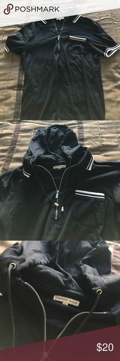 Terranova Italy Polo w/ Hoodie & Collar Black Terranova Italy Polo w/ Hoodie & Collar Terranova Shirts Polos