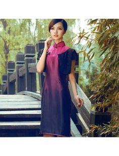 Modern Cheongsam Silk Gradient Purple Qipao Dress
