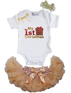 Kirei Sui Baby Gold Pettiskirt 1st Christmas Gift Bodysuit Set Small Gold >>> Click image to review more details.