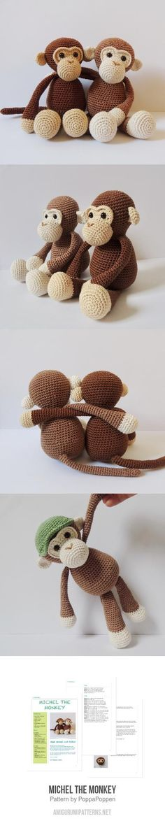 Michel the monkey amigurumi pattern - Crochet Amigurumi Patterns, Amigurumi Doll, Knitting Patterns, Crochet Patterns, Crochet Animals, Crochet Toys, Crochet Baby, Amigurumi For Beginners, Crochet For Beginners