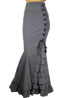 High Waist Fishtail Mermaid Asymmetrical Ruffles Laced Long Skirt Gray 8 10 | eBay tooo cute!