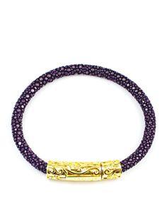 Women's Purple Stingray Bracelet with Gold Lock 18k Gold, Sterling Silver, Purple, Bracelets, Leather, Jewelry, Jewlery, Jewerly, Schmuck