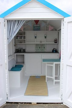 Beach Hut Shed, Beach Hut Decor, Pool Shed, Backyard Sheds, Beach Huts, Playhouse Interior, Shed Interior, Playhouse Ideas, Small Summer House