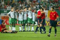 Spain 1 Rep of Ireland 1 (3-2 p) in 2002 in Suwon. Spain won the penalty shoot out 3-2 and unlucky Ireland exit the World Cup Finals in Round 2.
