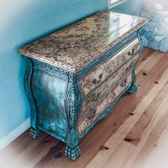 Patina Rusted Dresser chest of drawers shabby chic furniture green boho dresser painted furniture boho furniture vintage furniture Decoupage Furniture, Hand Painted Furniture, Distressed Furniture, Paint Furniture, Shabby Chic Furniture, Furniture Makeover, Vintage Furniture, Cool Furniture, Furniture Stores