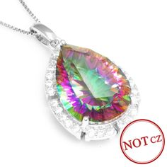 Gem Stone 12ct Genuine Mystic Rainbow Fire Topaz Pendant Only $39.9 => Save up to 60% and Free Shipping => Order Now! #Bracelets #Mystic Topaz #Earrings #Clip Earrings #Emerald #Necklaces #Rings #Stud Earrings