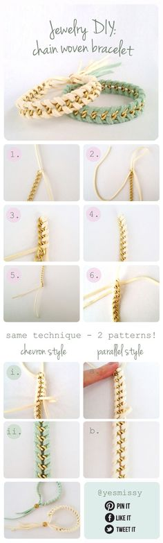 Jewelry DIY: Chain Woven Bracelet Tutorial Source confirmed 3/9/2013. black/gray/sparkle fabric