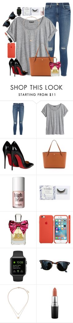 """""""// My 30 Year Old Dream Shoes //"""" by xomadibbyyy ❤ liked on Polyvore featuring Frame Denim, H&M, Christian Louboutin, Tory Burch, Benefit, Georgie Beauty, Juicy Couture, Ray-Ban, Topshop and MAC Cosmetics"""