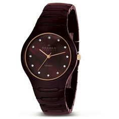 Skagen Women's 817SDXCR Brown Ceramic MOP Dial Watch ($99) ❤ liked on Polyvore featuring jewelry, watches, brown, butterfly jewelry, crown jewelry, snap jewelry, black face watches and skagen wrist watch