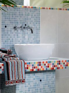 colorful tiles, vessel sink
