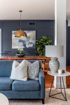 Navy Living Rooms, Condo Living Room, Dining Room, Blue Feature Wall Living Room, Dining Area, Navy Accent Walls, Modern Condo, Modern Decor, Decorating Bookshelves