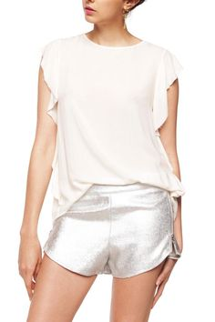 Silver gummed gabardine short. Adjustable waist through elastic and zippers on both sides.   Silver Gummed Short by Julieta Grana. Clothing - Shorts Buenos Aires, Argentina