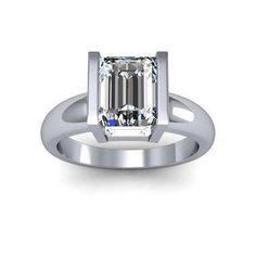 Tension Emerald cut Engagement Rings