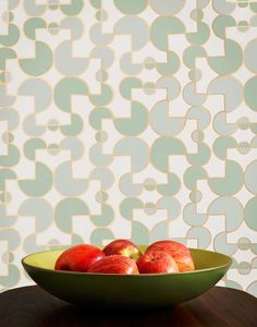 Arcade (Celadon) wallpaper featuring a geometric pattern inspired by tile was designed by Heath Ceramics for Hygge & West. Our modern, high quality wallpapers are screen printed by hand in the USA. Geometric Wallpaper, Pattern Wallpaper, Arcade, Hygge And West, Backsplash Wallpaper, Heath Ceramics, Kitchen Wall Colors, Wallpaper Calculator, High Quality Wallpapers