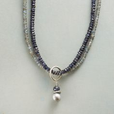 """PEARL MIST NECKLACE--One strand is dyed iolite, the other labradorite, joined by a hoop dangling a dyed, cultured freshwater pearl pendant. Lobster clasp. Necklace handcrafted in USA of sterling silver. 18""""L."""