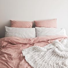 @stylingbytiffany on Instagram: bed bedroom pink duvet bed cover knit throw scandi nordic