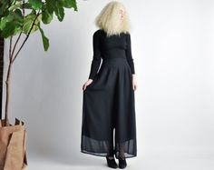finical palazzo pants / black wide leg pants by persephonevintage