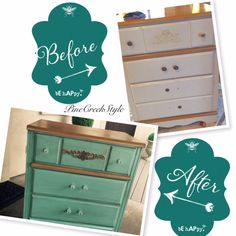 Old Dresser gets a New Look! Before & After...finished with a dirty, vintage distressed look & crystal drawer pulls. From PineCreekStyle Blog, FB, Pinterest & instagram!