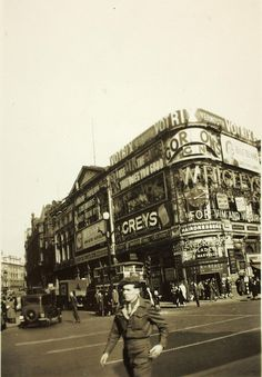 Piccadilly Circus, during World War Two. My mother's time and neighbourhood. Miss you mummy.