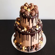 Ferrero, salted caramel small two-tier cake! Wedding cake for the chocaholic!