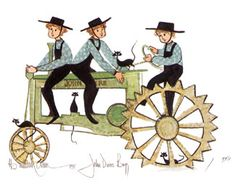 """""""John Deere Boys"""" by P Buckley Moss. Issued 1998. Image Size: 7-1/8 x 9-3/4 ins. Rare @ Issue Price: $80."""