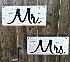 Handmade Wooden Mr. & Mrs. Wedding Signs, Set of 2 - Distressed Finish Shown in White and Black - Or Choose Your Own Colors